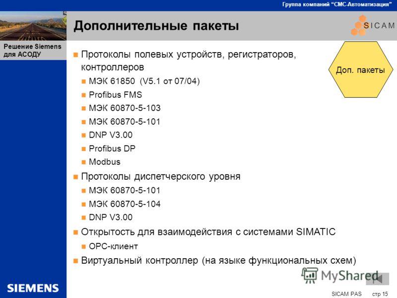 SICAM PAS стр 15 Группа компаний СМС-Автоматизация Решение Siemens для АСОДУ Дополнительные пакеты Протоколы полевых устройств, регистраторов, контроллеров МЭК 61850 (V5.1 от 07/04) Profibus FMS МЭК 60870-5-103 МЭК 60870-5-101 DNP V3.00 Profibus DP M