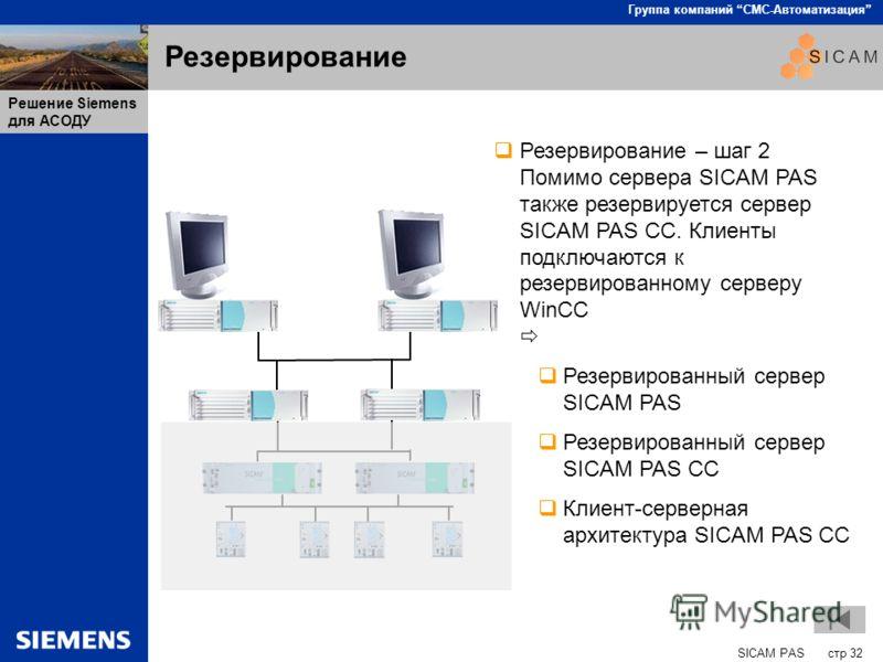 SICAM PAS стр 32 Группа компаний СМС-Автоматизация Решение Siemens для АСОДУ Резервирование Резервирование – шаг 2 Помимо сервера SICAM PAS также резервируется сервер SICAM PAS CC. Клиенты подключаются к резервированному серверу WinCC Резервированный