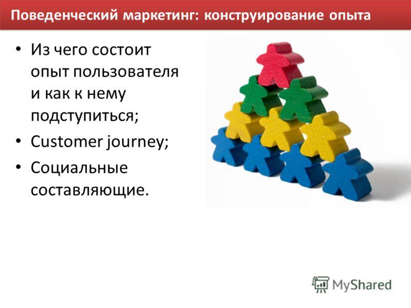 Поведенческий маркетинг: конструирование опыта Из чего состоит опыт пользователя и как к нему подступиться; Customer journey; Социальные составляющие.