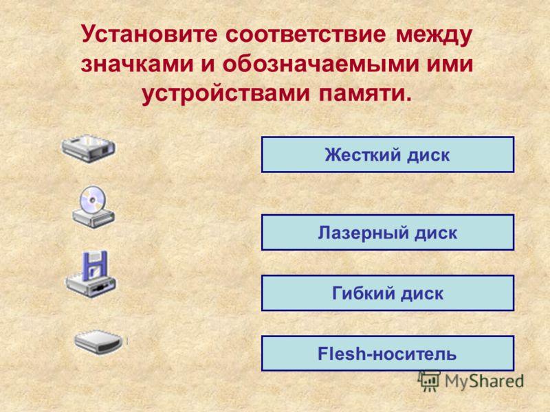 Установите соответствие между значками и обозначаемыми ими устройствами памяти. Жесткий диск Лазерный диск Гибкий диск Flesh-носитель