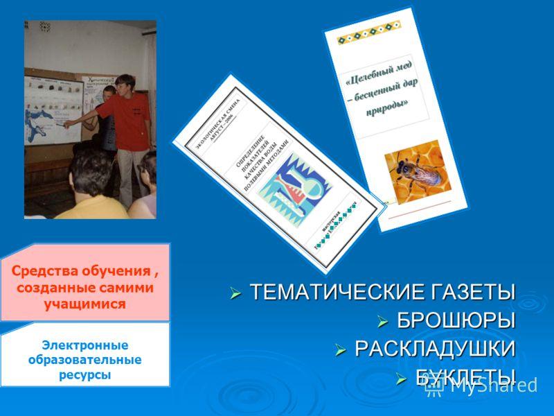 ТЕМАТИЧЕСКИЕ ГАЗЕТЫ ТЕМАТИЧЕСКИЕ ГАЗЕТЫ БРОШЮРЫ БРОШЮРЫ РАСКЛАДУШКИ РАСКЛАДУШКИ БУКЛЕТЫ БУКЛЕТЫ Средства обучения, созданные самими учащимися Электронные образовательные ресурсы