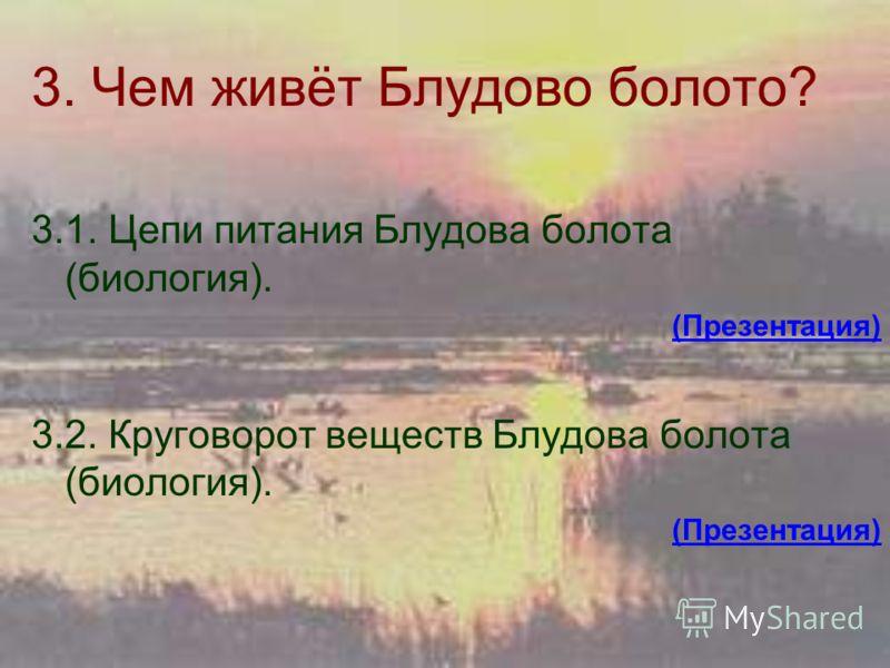 3. Чем живёт Блудово болото? 3.1. Цепи питания Блудова болота (биология). (Презентация) 3.2. Круговорот веществ Блудова болота (биология). (Презентация)