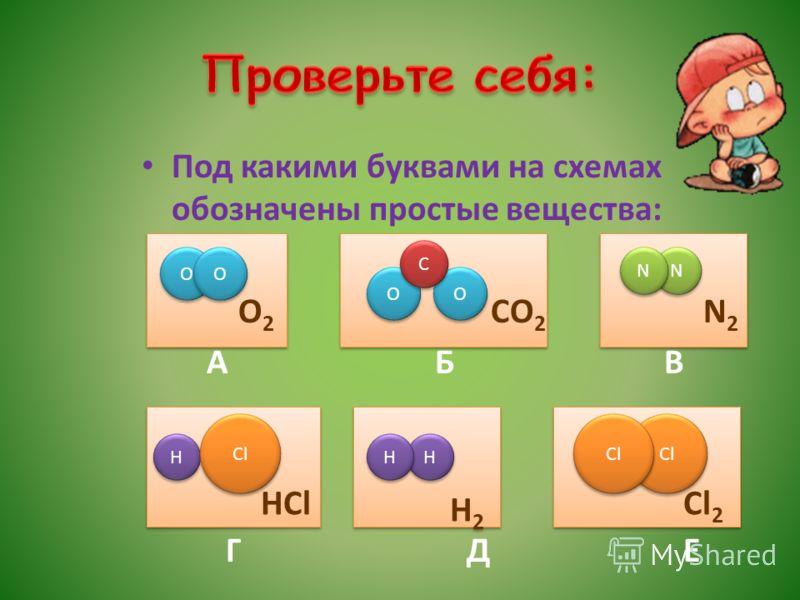 Под какими буквами на схемах обозначены простые вещества: О 2 СО 2 N 2 А Б В Г Д Е О О О О О О О О С С N N N N HCl Н Н Cl Н 2 Н 2 Н Н Н Н Cl 2 Cl