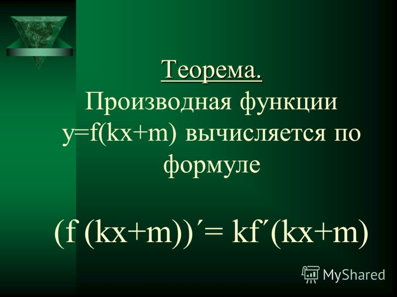 Теорема. Теорема. Производная функции y=f(kx+m) вычисляется по формуле (f (kx+m))΄= kf΄(kx+m)
