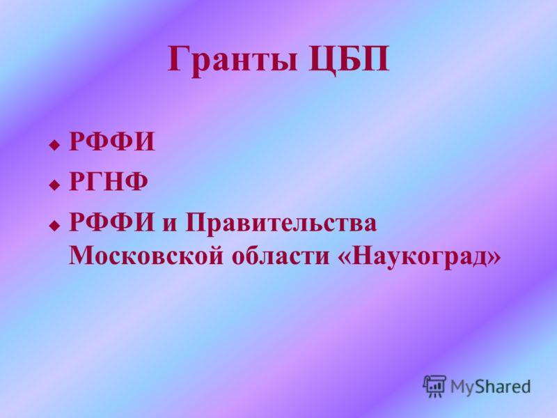 Гранты ЦБП u РФФИ u РГНФ u РФФИ и Правительства Московской области «Наукоград»