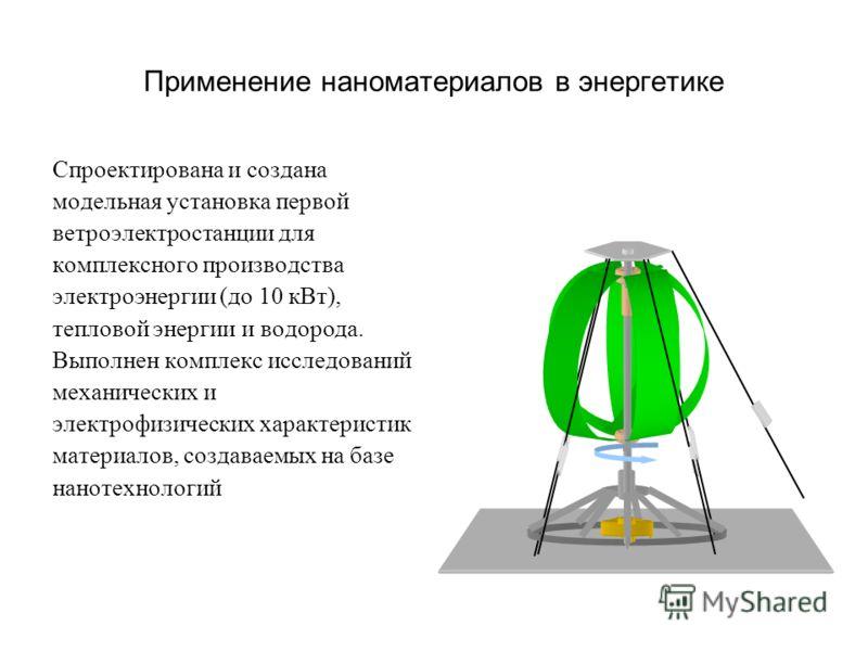 Применение наноматериалов в энергетике Спроектирована и создана модельная установка первой ветроэлектростанции для комплексного производства электроэнергии (до 10 кВт), тепловой энергии и водорода. Выполнен комплекс исследований механических и электр
