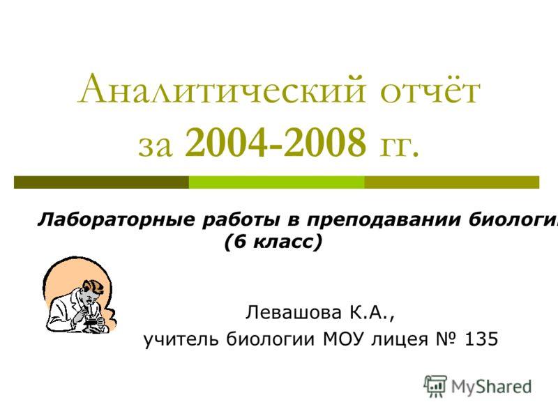 Аналитический отчёт за 2004-2008 гг. Левашова К.А., учитель биологии МОУ лицея 135 Лабораторные работы в преподавании биологии (6 класс)