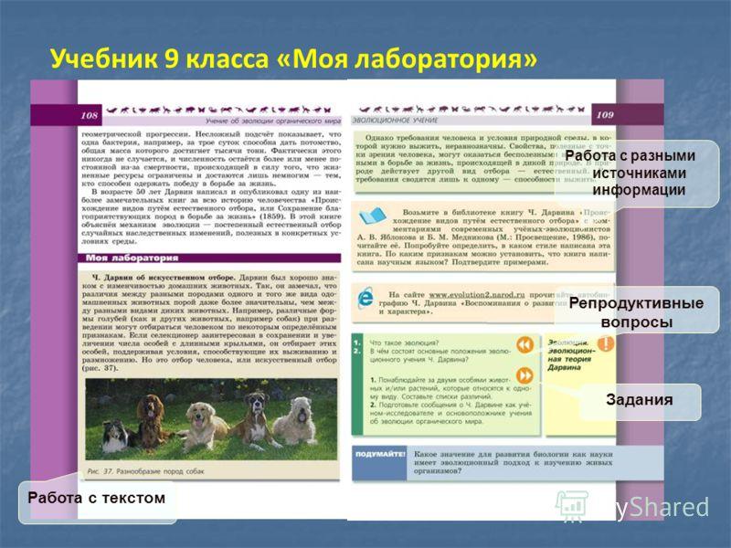 Учебник 9 класса «Моя лаборатория» Работа с текстом Репродуктивные вопросы Задания Работа с разными источниками информации