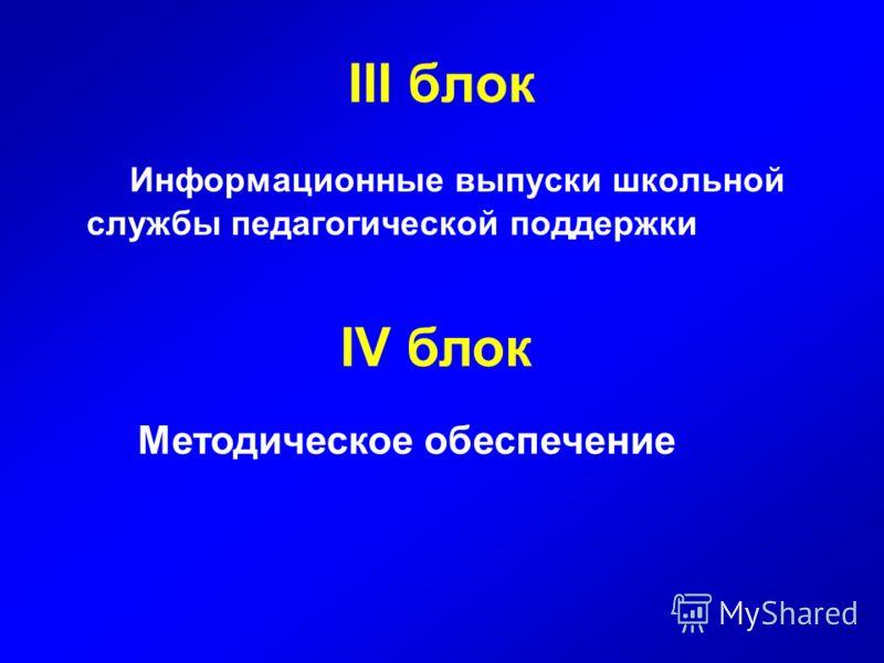 III блок Информационные выпуски школьной службы педагогической поддержки IV блок Методическое обеспечение