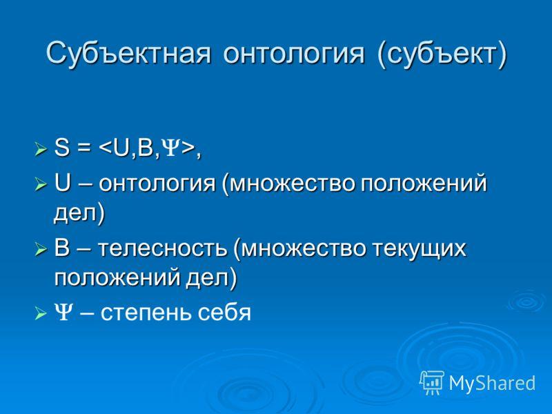 Субъектная онтология (субъект) S =, S =, U – онтология (множество положений дел) U – онтология (множество положений дел) В – телесность (множество текущих положений дел) В – телесность (множество текущих положений дел) – степень себя
