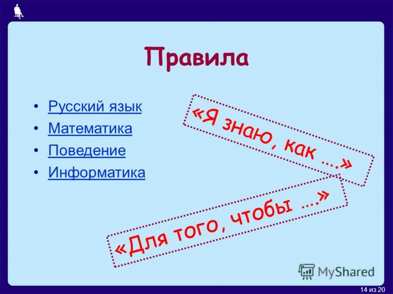 14 из 20 Правила Русский язык Математика Поведение Информатика «Я знаю, как ….» «Для того, чтобы ….»
