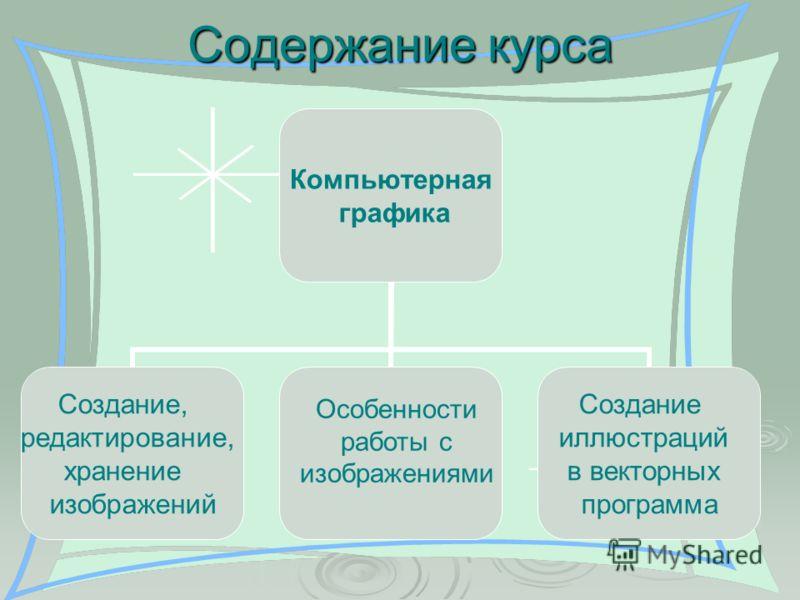 Содержание курса Компьютерная графика Создание, редактирование, хранение изображений Создание иллюстраций в векторных программа Особенности работы с изображениями