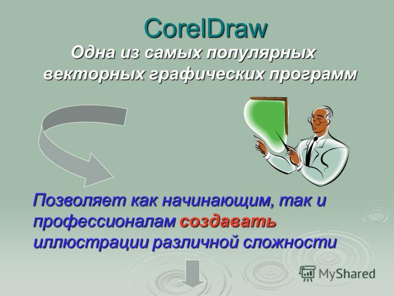 CorelDraw Одна из самых популярных векторных графических программ Позволяет как начинающим, так и профессионалам создавать иллюстрации различной сложности Позволяет как начинающим, так и профессионалам создавать иллюстрации различной сложности