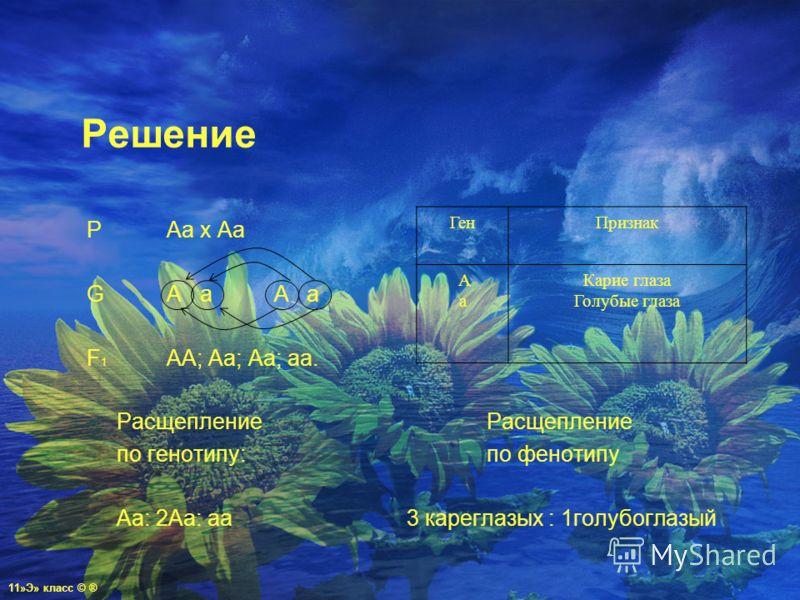 Решение PAa x Aa GA a A a F 1 АА; Аа; Аа; аа. РасщеплениеРасщепление по генотипу:по фенотипу Аа: 2Аа: аа3 кареглазых : 1голубоглазый ГенПризнак А а Карие глаза Голубые глаза 11»Э» класс © ®