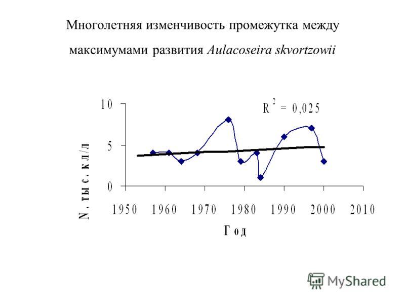 Многолетняя изменчивость промежутка между максимумами развития Aulacoseira skvortzowii