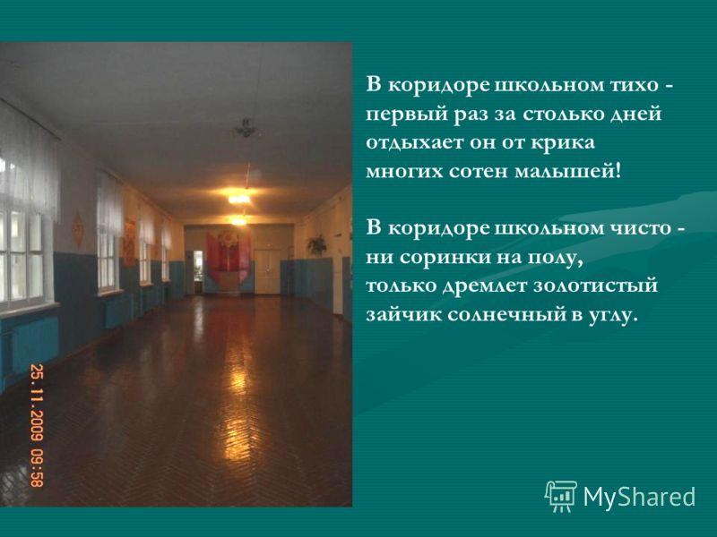 В коридоре школьном тихо - первый раз за столько дней отдыхает он от крика многих сотен малышей! В коридоре школьном чисто - ни соринки на полу, только дремлет золотистый зайчик солнечный в углу.