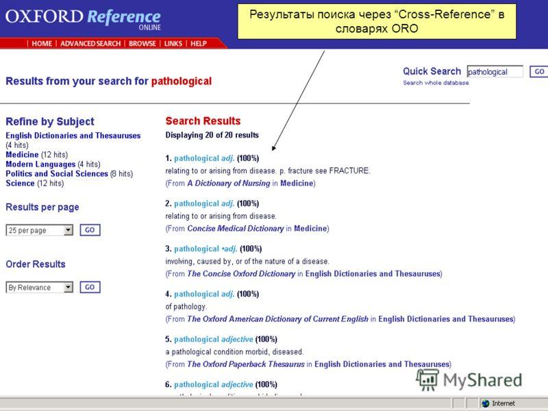 1 Результаты поиска через Cross-Reference в словарях ORO