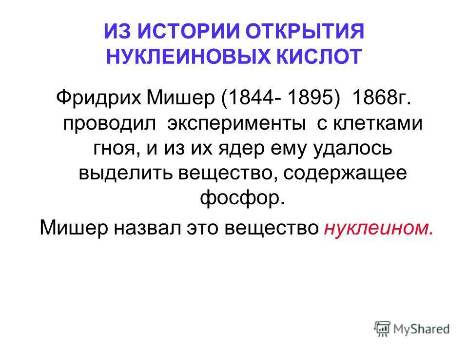 ИЗ ИСТОРИИ ОТКРЫТИЯ НУКЛЕИНОВЫХ КИСЛОТ Фридрих Мишер (1844- 1895) 1868г. проводил эксперименты с клетками гноя, и из их ядер ему удалось выделить вещество, содержащее фосфор. Мишер назвал это вещество нуклеином.