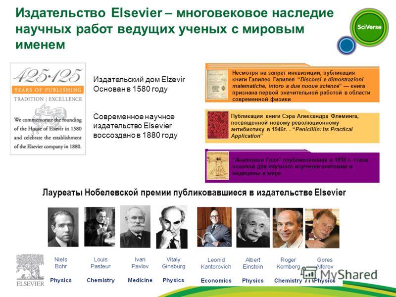 Лауреаты Нобелевской премии публиковавшиеся в издательстве Elsevier Издательский дом Elzevir Основан в 1580 году Современное научное издательство Elsevier воссоздано в 1880 году Анатомия Грэя опубликованная в 1858 г. стала основой для научного изучен