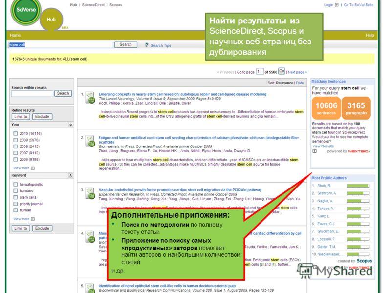 Найти результаты из ScienceDirect, Scopus и научных веб-страниц без дублирования Дополнительные приложения: Поиск по методологии по полному тексту статьи Приложение по поиску самых «продуктивных» авторов помогает найти авторов с наибольшим количество