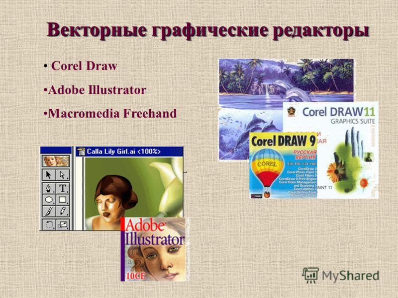 Векторные графические редакторы Corel Draw Adobe Illustrator Macromedia Freehand