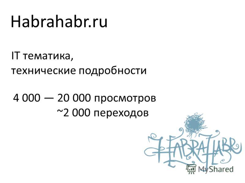 Habrahabr.ru IT тематика, технические подробности 4 000 20 000 просмотров ~2 000 переходов