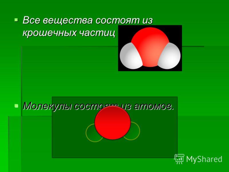 Все вещества состоят из крошечных частиц - молекул. Все вещества состоят из крошечных частиц - молекул. Молекулы состоят из атомов. Молекулы состоят из атомов.