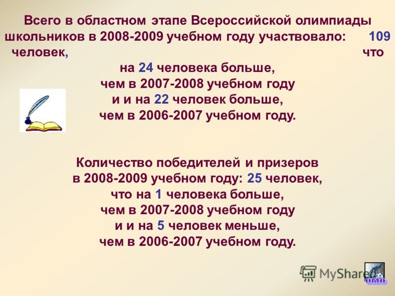 Всего в областном этапе Всероссийской олимпиады школьников в 2008-2009 учебном году участвовало: 109 человек, что на 24 человека больше, чем в 2007-2008 учебном году и и на 22 человек больше, чем в 2006-2007 учебном году. Количество победителей и при