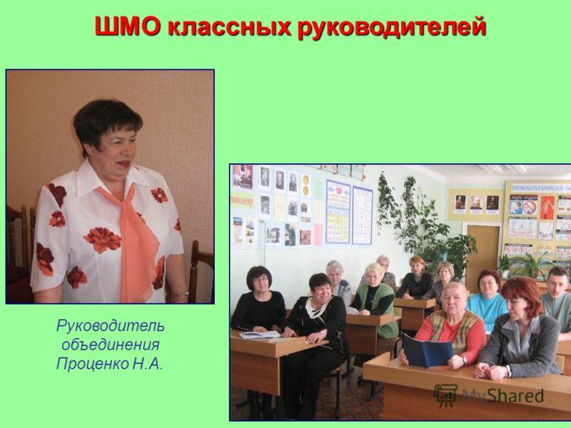 ШМО классных руководителей Руководитель объединения Проценко Н.А.