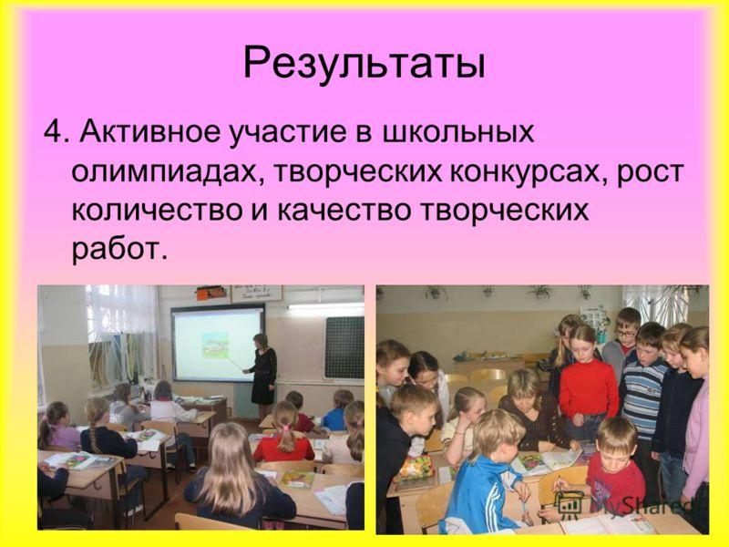 Результаты 4. Активное участие в школьных олимпиадах, творческих конкурсах, рост количество и качество творческих работ.