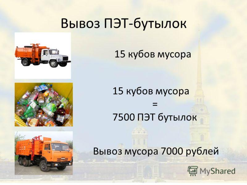 Вывоз ПЭТ-бутылок 15 кубов мусора = 7500 ПЭТ бутылок Вывоз мусора 7000 рублей
