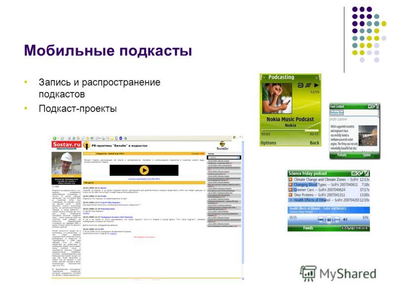 Мобильные подкасты Запись и распространение подкастов Подкаст-проекты