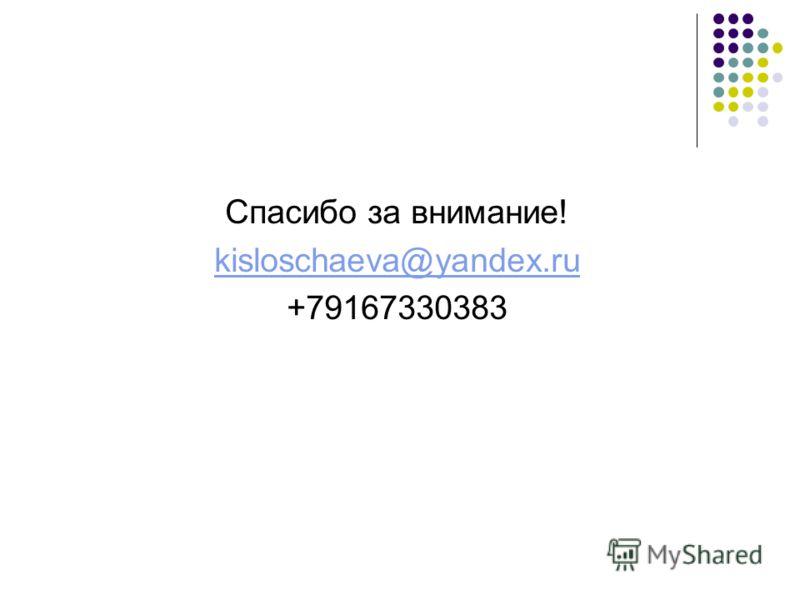 Спасибо за внимание! kisloschaeva@yandex.ru +79167330383