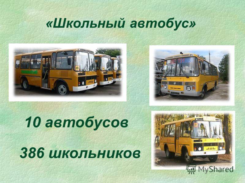 «Школьный автобус» 10 автобусов 386 школьников