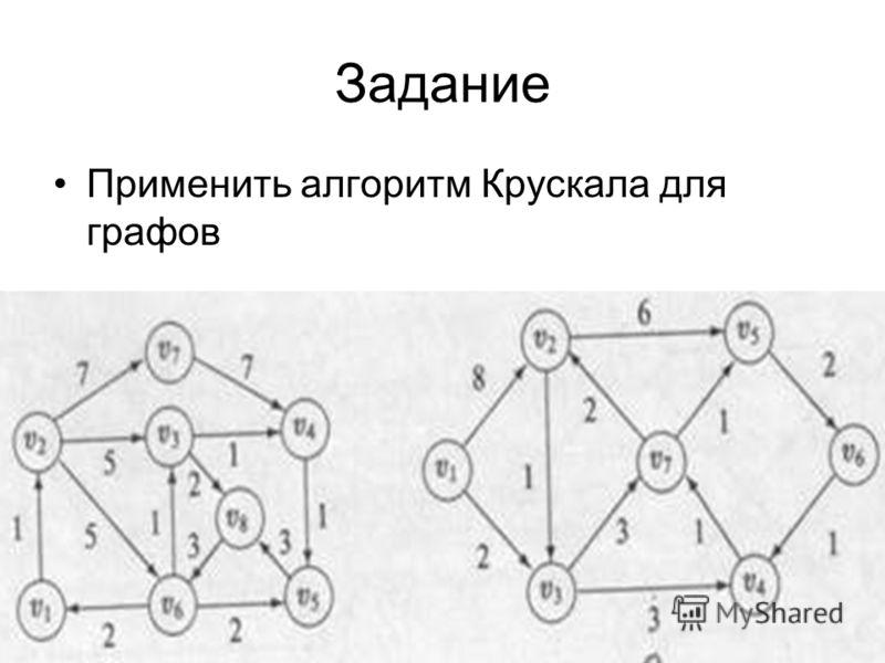 Задание Применить алгоритм Крускала для графов