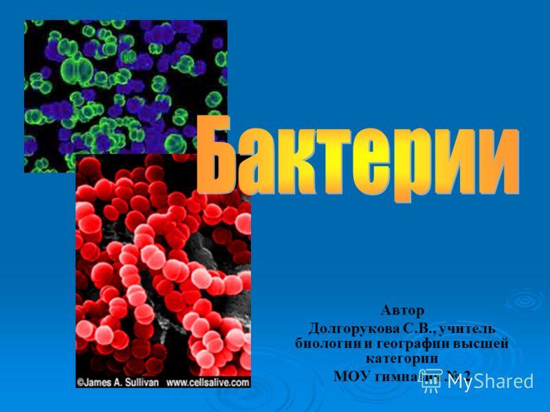 Автор Долгорукова С.В., учитель биологии и географии высшей категории МОУ гимназия 2