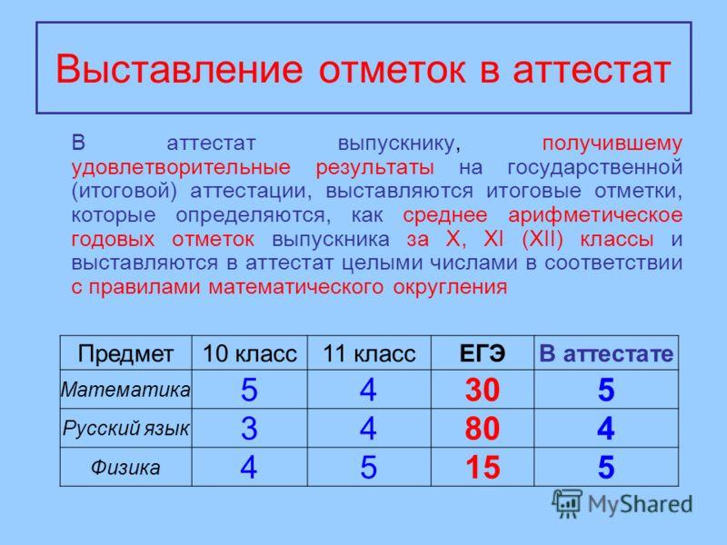 Выставление отметок в аттестат В аттестат выпускнику, получившему удовлетворительные результаты на государственной (итоговой) аттестации, выставляются итоговые отметки, которые определяются, как среднее арифметическое годовых отметок выпускника за X,