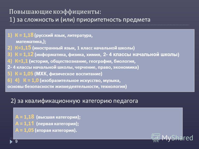 Повышающие коэффициенты: 1) за сложность и (или) приоритетность предмета 9 1)К = 1,1 8 (русский язык, литература, математика,); 2)К=1,1 5 ( иностранный язык, 1 класс начальной школы ) 3)К = 1,1 2 (информатика, физика, химия, 2- 4 классы начальной шко