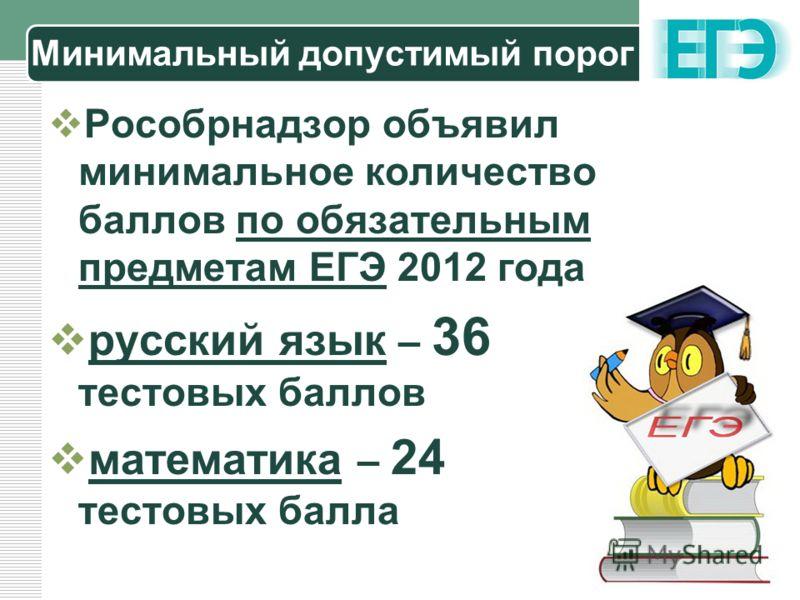 LOGO Минимальный допустимый порог Рособрнадзор объявил минимальное количество баллов по обязательным предметам ЕГЭ 2012 года русский язык – 36 тестовых баллов математика – 24 тестовых балла