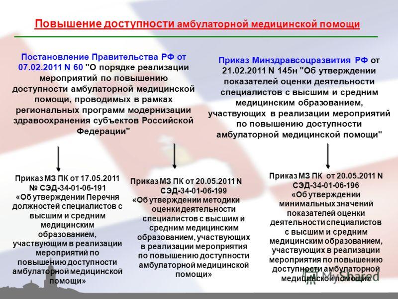 Повышение доступности амбулаторной медицинской помощи Постановление Правительства РФ от 07.02.2011 N 60