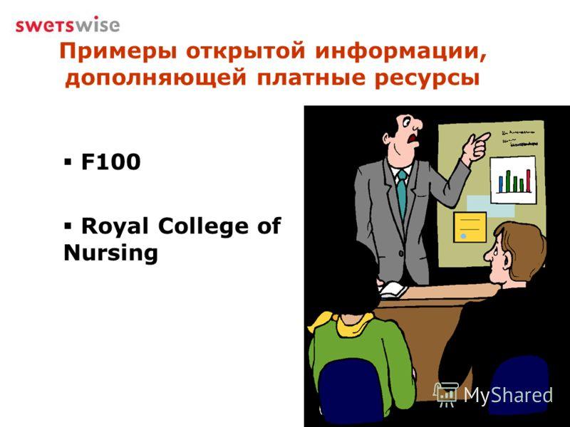 Примеры открытой информации, дополняющей платные ресурсы F100 Royal College of Nursing