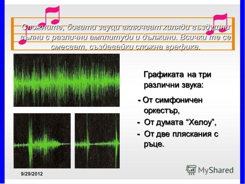 Сложните, богати звуци включват хиляди въздушни вълни с различни амплитуди и дължини. Всички те се смесват, създавайки сложна графика. Графиката на три различни звука: Графиката на три различни звука: - От симфоничен оркестър, - От симфоничен оркестъ