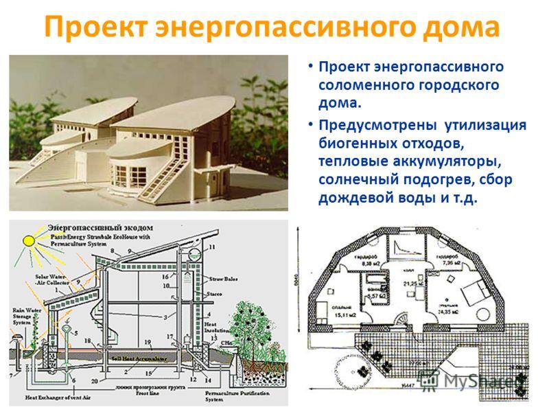 Проект энергопассивного дома Проект энергопассивного соломенного городского дома. Предусмотрены утилизация биогенных отходов, тепловые аккумуляторы, солнечный подогрев, сбор дождевой воды и т.д.
