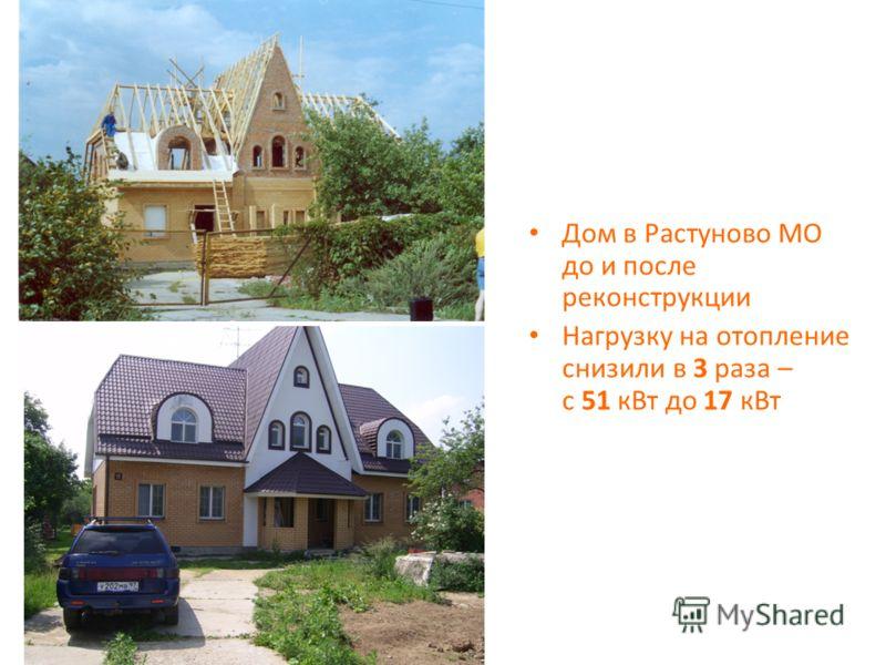 Дом в Растуново МО до и после реконструкции Нагрузку на отопление снизили в 3 раза – с 51 кВт до 17 кВт