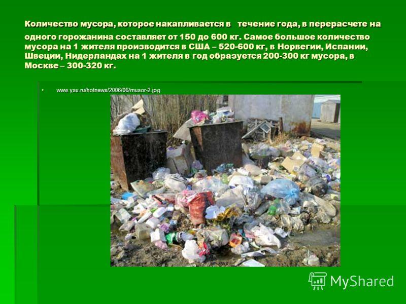 Количество мусора, которое накапливается в течение года, в перерасчете на одного горожанина составляет от 150 до 600 кг. Самое большое количество мусора на 1 жителя производится в США – 520-600 кг, в Норвегии, Испании, Швеции, Нидерландах на 1 жителя