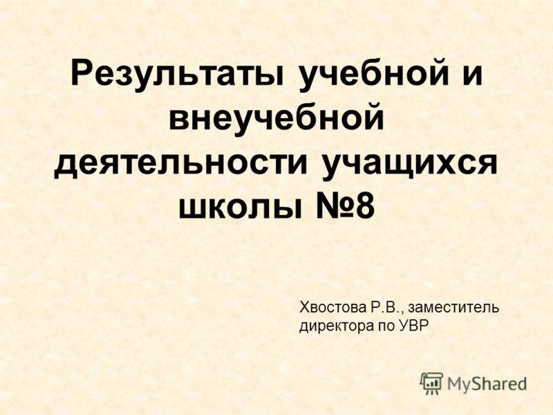 Результаты учебной и внеучебной деятельности учащихся школы 8 Хвостова Р.В., заместитель директора по УВР