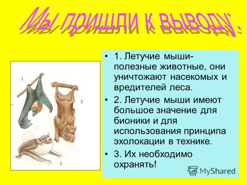 1. Летучие мыши- полезные животные, они уничтожают насекомых и вредителей леса. 2. Летучие мыши имеют большое значение для бионики и для использования принципа эхолокации в технике. 3. Их необходимо охранять!
