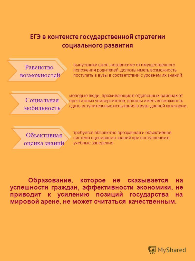 ЕГЭ в контексте государственной стратегии социального развития Равенство возможностей Равенство возможностей Социальная мобильность Социальная мобильность Объективная оценка знаний Объективная оценка знаний выпускники школ, независимо от имущественно