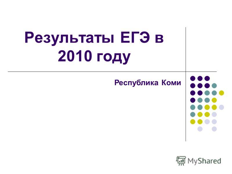Результаты ЕГЭ в 2010 году Республика Коми