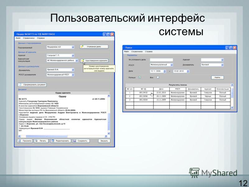 12 Пользовательский интерфейс системы